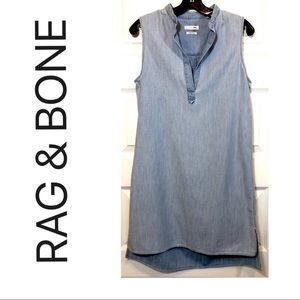 Denim Sleeveless Button Down Shirt Dress